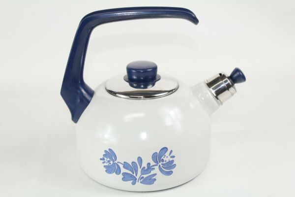 Enameled Cast Iron Whistling Tea Kettle Blue Flower Design