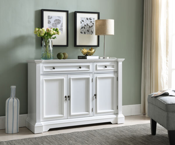 Kings Brand Furniture White Finish Wood Buffet Breakfront Cabinet Console Table