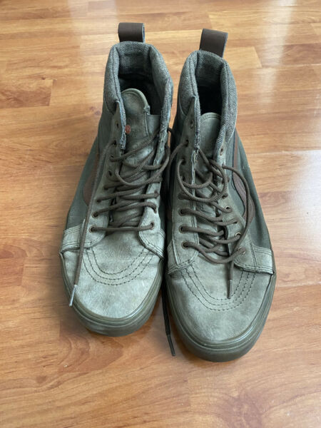 Vans Off Wall Scotchgard Black Brown Leather Suede High Top Skate Shoes Mens 12 $35.00