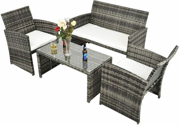 4pcs Patio Outdoor Furniture Sets Clearance Rattan Wicker Table and Chairs Set $269.99