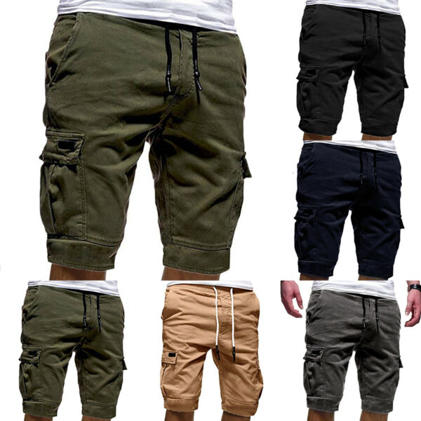 Men Bottom Jogger Shorts Sports Cargo Pants Military Combat Gym Jogger Trousers