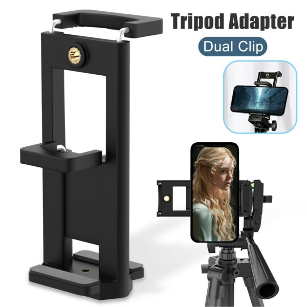 Cell Phone Tripod Adapter Holder Dual Clip Smartphone Mount Adjustable Clamp