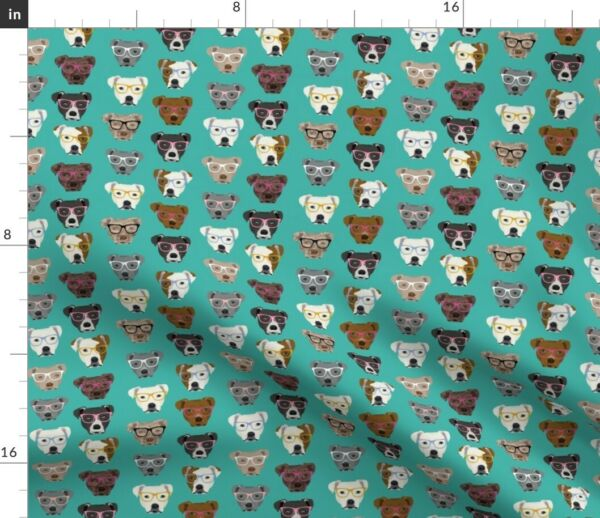 Pitbull Glasses Cute Dogs Pitty Turquoise Spoonflower Fabric by the Yard $28.00