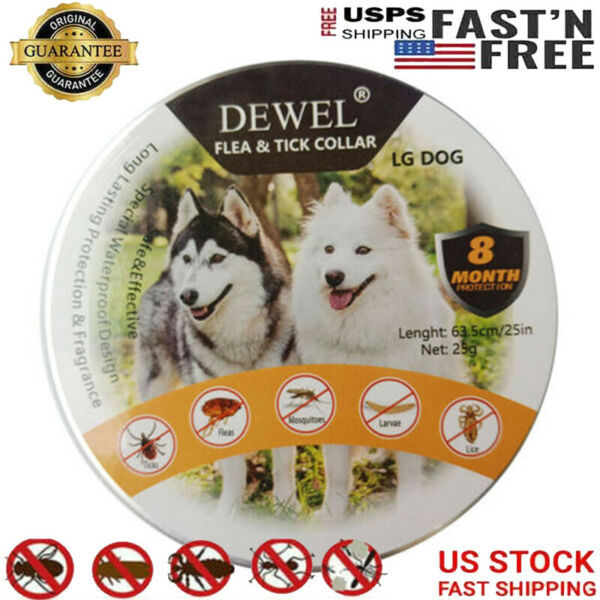 US Dewel Flea and Tick Control Collar for Large Dog 8Month Protection Treatment $10.99