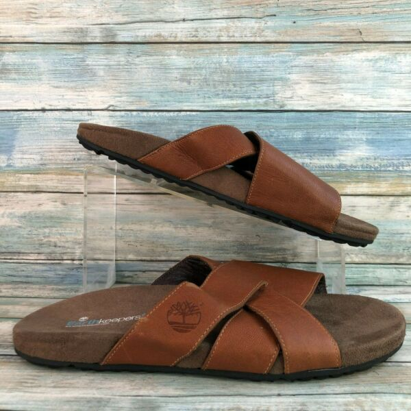 Timberland Earthkeepers Mens Zig Zag Brown Leather Casual Slide Sandals Size 10M $38.99