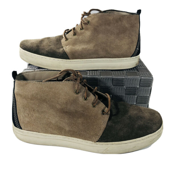 Timberland Chukka Sneaker Boots 2 Tone Suede Leather Men's Size 11 Brown Black $44.95