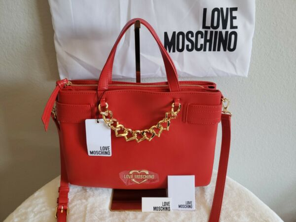NWT Love Moschino Red Crossbody Satchel Bag Gold Heart Chain Logo Faux Leather $225.00