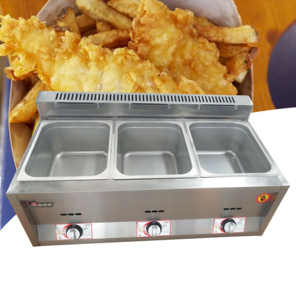 18L Commercial Gas Fryer 3 Pan Gas Steam Table Food Warmer Equipment Steamer $199.00
