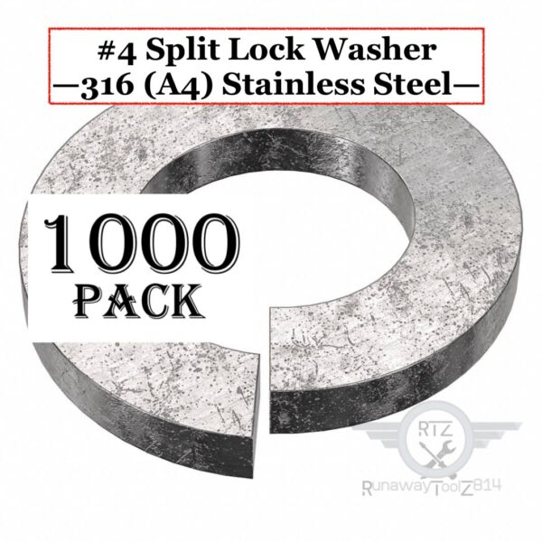 #4 Split Lock Washer 0.12quot; ID x 0.209quot; OD 316 A4 Stainless Steel PK1000 $14.99