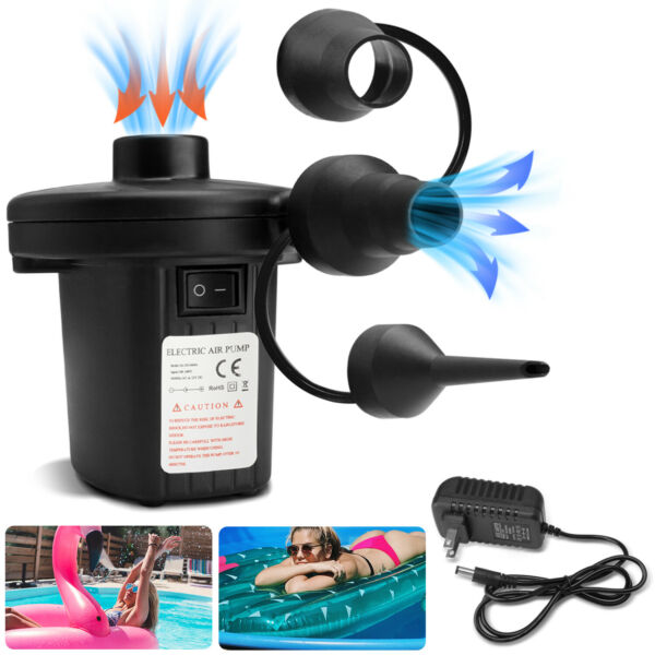 Electric Air Pump Inflator Deflate Air Mattress Raft Bed Boat Toy 3 Nozzles 110V $14.95