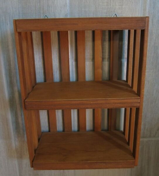 Vintage Wooden Crate Style Two Shelf Wall Unit