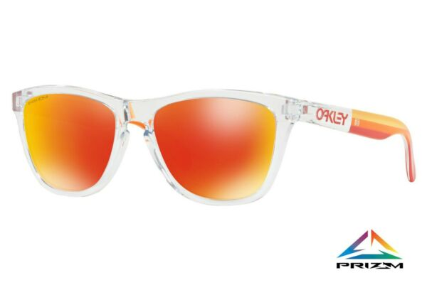Oakley Frogskins Sunglasses OO9013 E155 Polished Clear Frame W PRIZM Ruby Lens $69.48