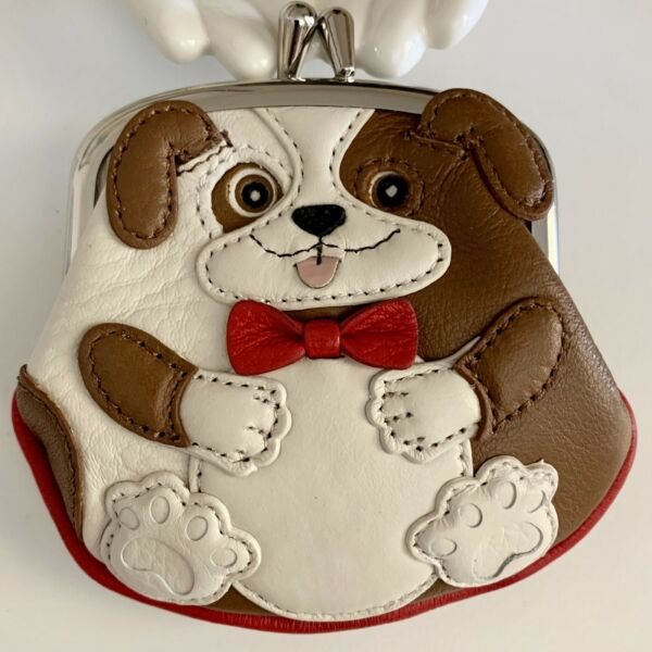 Brighton Menagerie DUKE DOG Leather French Kiss Clasp Coin Purse MSRP$75 NWT $30.50