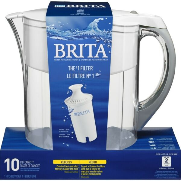 Brita Grand 10 White Water Filtration Pitcher Pack of 1