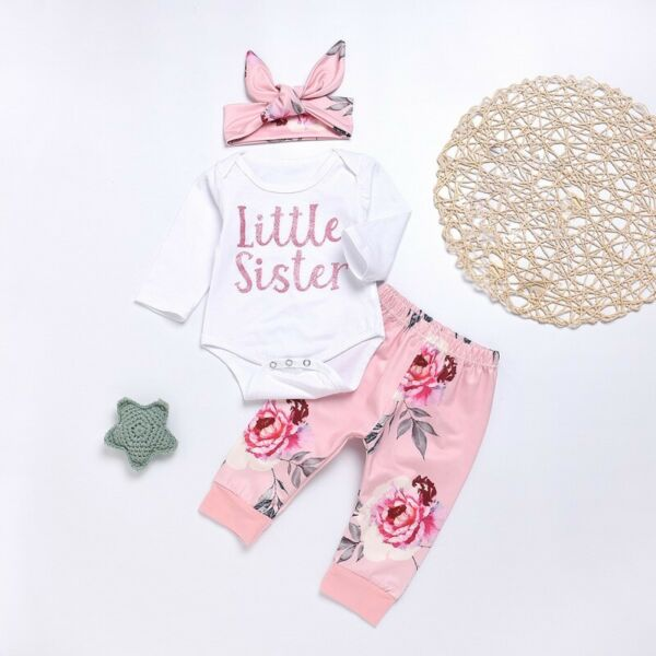 Autumn Toddler Baby Girls Romper Tops Floral Pants Headband Outfits Set Clothes