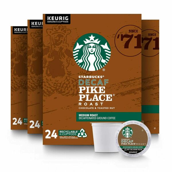 STARBUCKS DECAF PIKE PLACE MEDIUM ROAST FOR KEURIG 4 BOXES OF 24 PODS EACH