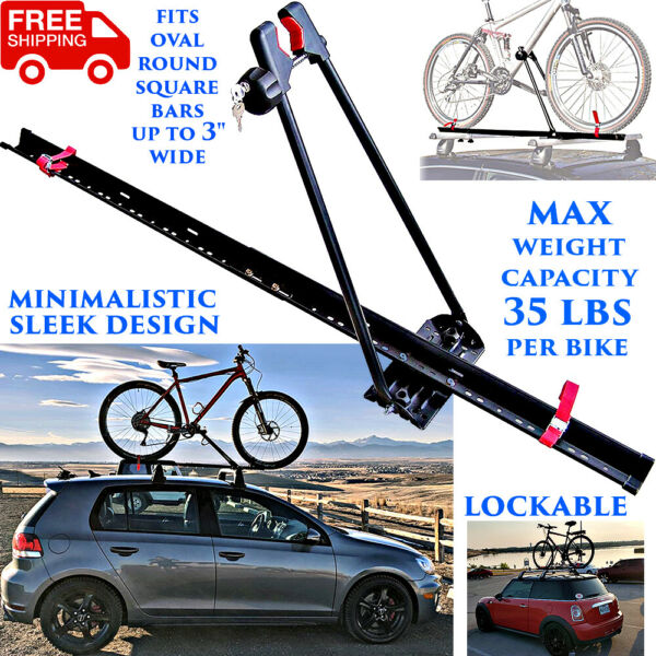 BIKE RACK FOR CAR ROOF UNIVERSAL LOCKABLE UPRIGHT SINGLE BICYCLE CARRIER TRAILER $65.36