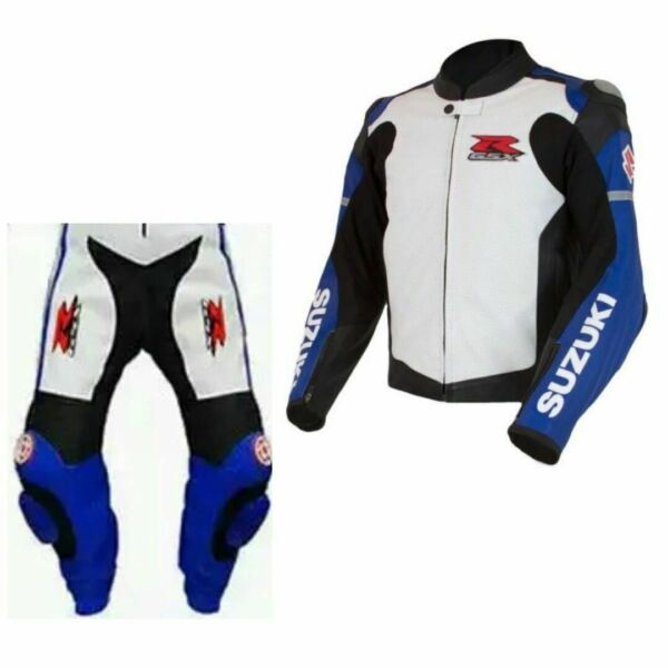 Suzuki GSXR Heavy Bike Racing Suit Sports Trouser Protected Pure Leather Jacket $299.99