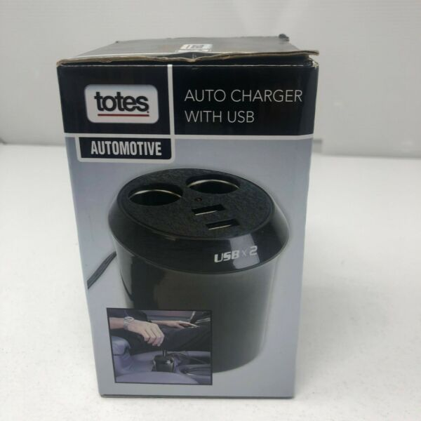TOTES Power Up Cup Auto Charger With Two USB ports and Two 12V DC Power Ports $9.99