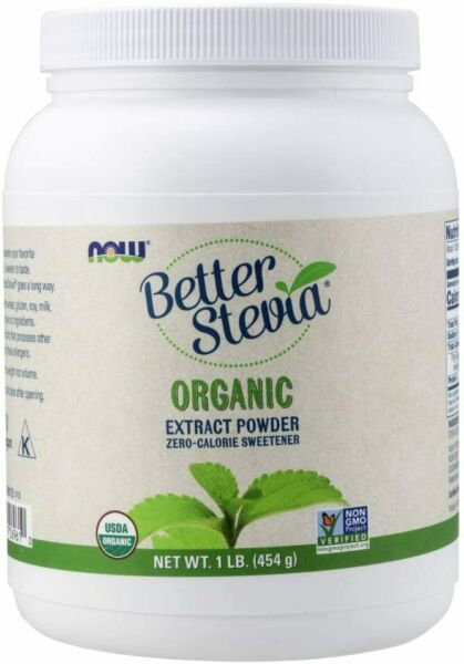 NOW Foods Better Stevia Certified Organic Extract Powder 1 LB 454 G Powder