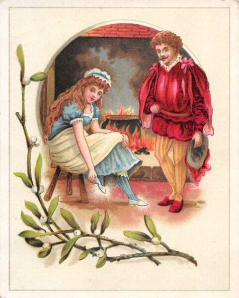 LION COFFEE TRADE CARD MISTLETOE GENT GIVING MAIDEN NEW SHOES WOOLSON SPICE
