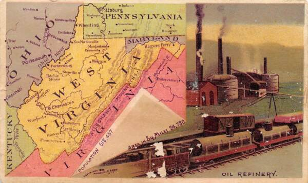 ARBUCKLE COFFEE TRADE CARD #57 WEST VIRGINIA US STATES amp; TERRITORIES DAMAGED