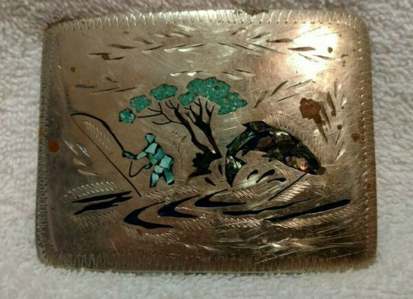 Hand Engraved Turquoise Stones Fishing Buckle Large Signed Vintage Buckle $29.99