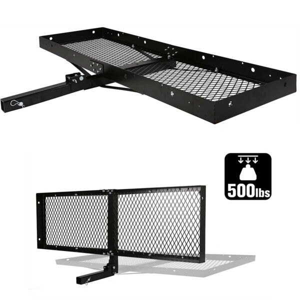 Kariyer Folding Hitch Mount Cargo Carrier Luggage Rack Rear 2quot; Receiver 550LBS $108.99