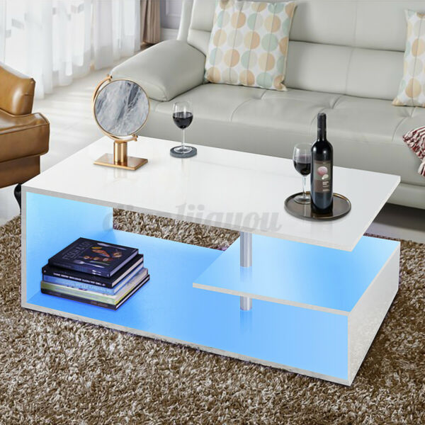 LED Black Coffee Table High Gloss with 2 Drawer Side Table Living Room Furniture