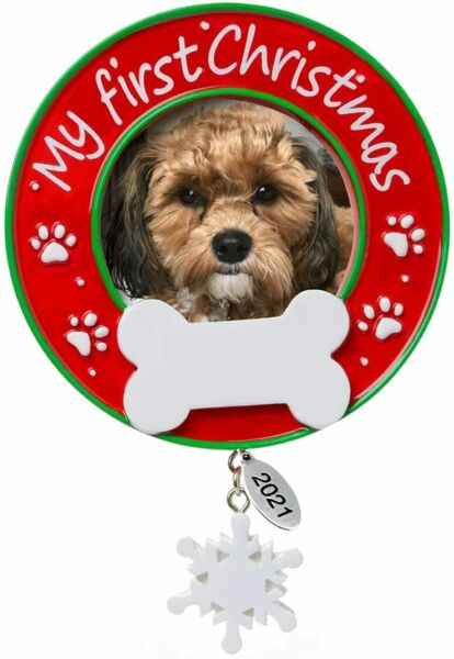 Dogs First Christmas Ornament 2021 Picture Frame Dog Christmas Home Ornaments $12.99