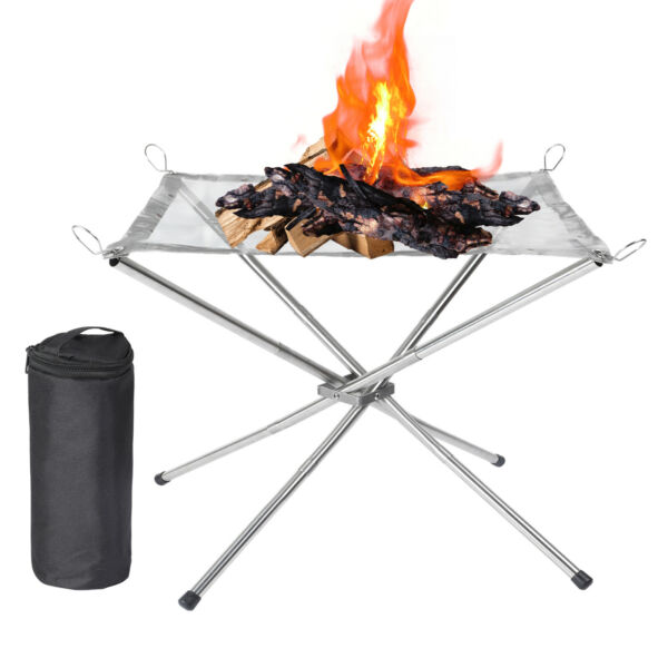 StainlessSteel Portable Fire Pit Outdoor Wood Burning Fireplace Patio Camping $17.98