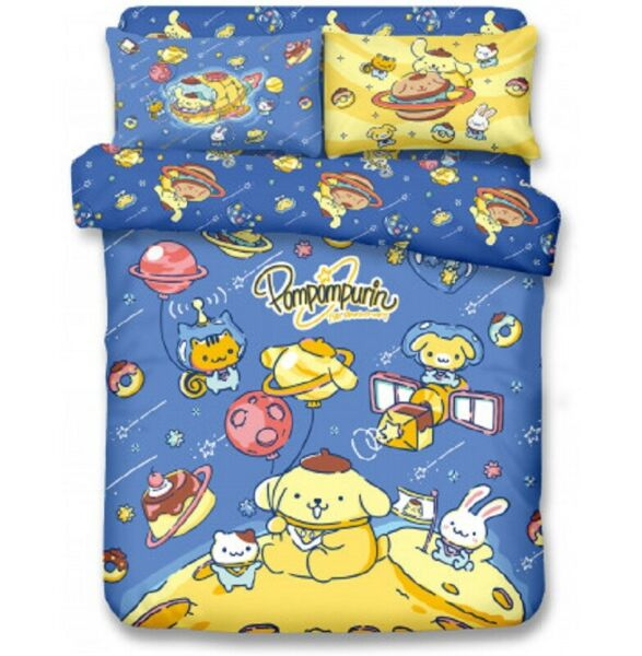 Sanrio Pom Pom Purin Fitted Sheet Pillow Case Duvet Cover Bedding Astronaut Dog $209.99