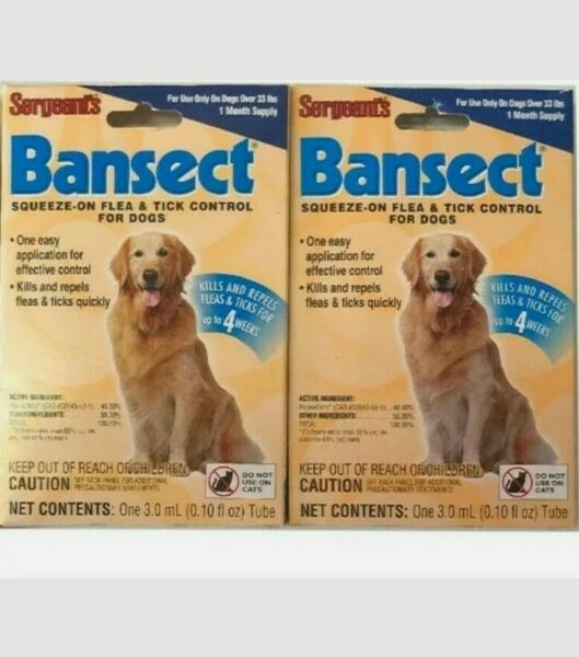 2 PK Flea amp; Tick Control TX Medicine For Dogs OVER 33LBS Sergeants Bansect $7.99