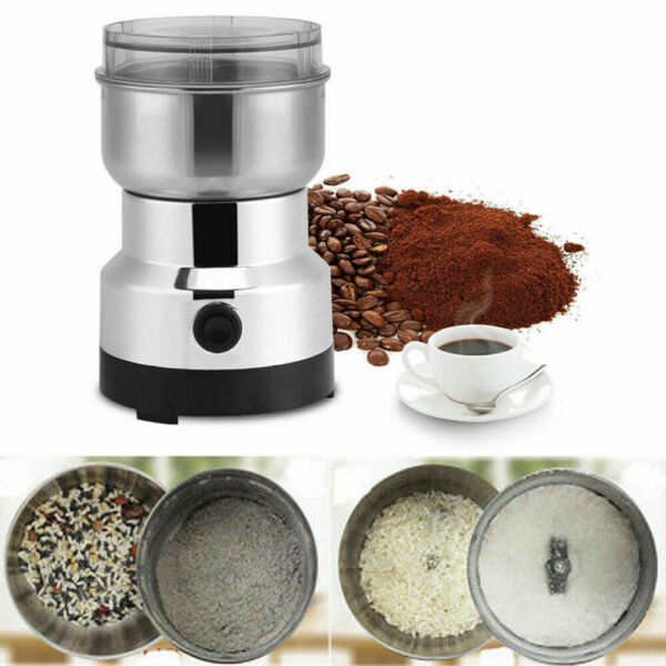 110V Electric Coffee Bean Grinder Stainless Steel Nut Spice Grinding Blender New