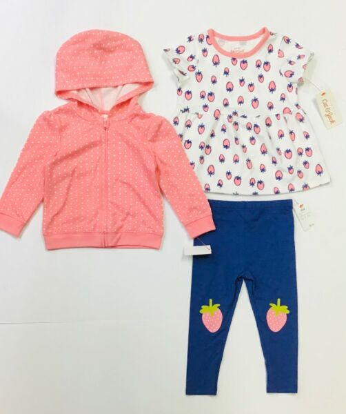 Baby Girls' 3 pcs Strawberry Outfit Set Bottoms Top Hooded Sweatshirt 18 Months