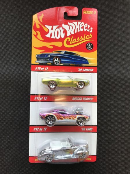 Hot Wheels Classics 3 Car Set Pack 69 Chevy Camaro Rodger Dodger 40 Ford $15.99