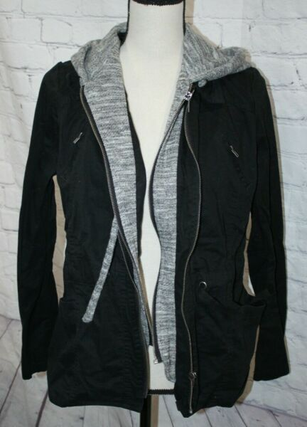 Love Tree Women#x27;s Black amp; Gray Hooded Jacket Front Zip Pockets Size Large