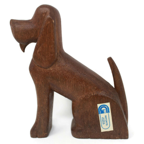 🔴 Vintage Carved Wood Dog Figurine Hound Big Imports Made in Ecuador 5.25quot; Tall