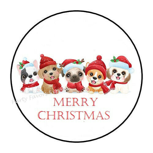 30 MERRY CHRISTMAS DOGS ENVELOPE SEALS LABELS STICKERS PARTY FAVORS 1.5quot; $1.95