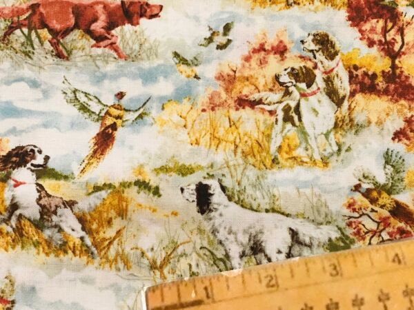 FQ Duck Hunting Hound Pointer Dogs Dog Tall Grass Cotton Fabric Fat Quarter $6.99