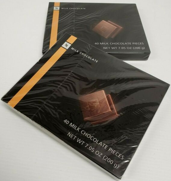 2 SEALED Nespresso Chocolate Boxes each 40 Milk Chocolate Pieces expired 9 20