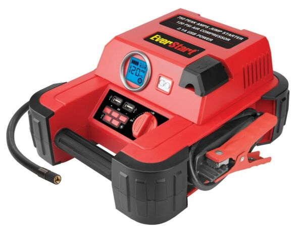 Auto Battery Jump Starter Air Compressor 750 Peak Amps Portable Car SUV Charger $48.99