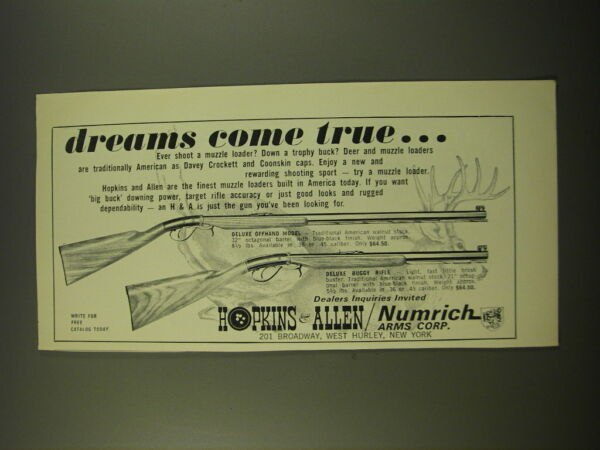1966 Hopkins amp; Allen Deluxe Offhand Model and Deluxe Buggy Rifle Ad Dreams $16.99