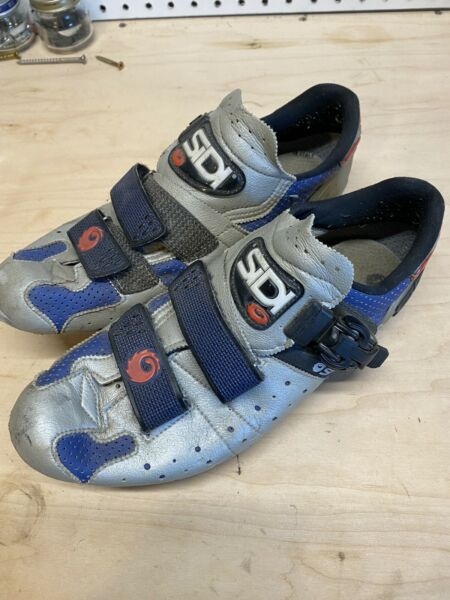 SIDI Genius Road Men#x27;s Cycling Shoes 42.5 Made In Italy Silver And Blue Vin $50.00