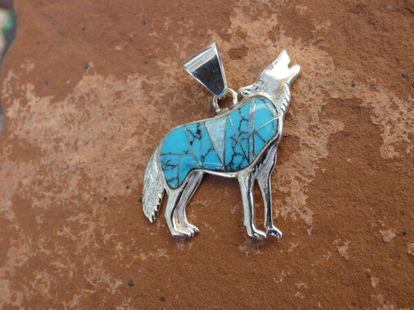 Southwestern Howling Wolf Dog Sterling Silver 925 Turquoise Gem Stone Pendant W9 $69.95