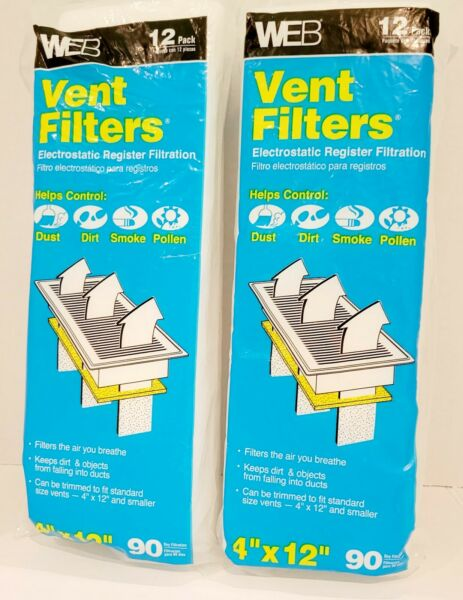 Pair of 2 Two Packs Electrostatic Register Floor Ceiling Vent Filters 4quot;X12quot; New $14.95
