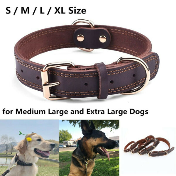 Genuine Leather Dog Collar Durable Alloy Hardware for Medium Extra Large Dogs $13.49