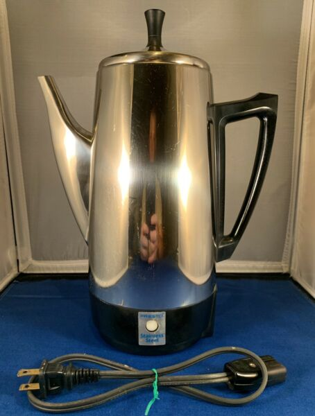 Vtg Presto 12 Cup Stainless Steel Electric Coffee Percolator Pot Model 0281105