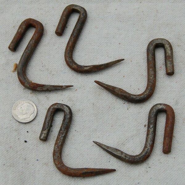 5 Vintage Antique Meat Hanging Rafter Hooks Used Condition Hand cut spear ends