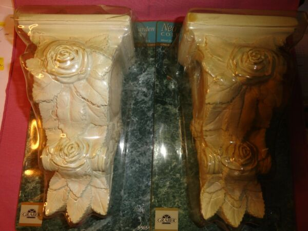 """Lot 2 Graber Curtain Rod Support Sconces Off White 8 1 2"""" Tall NOS $30.00"""
